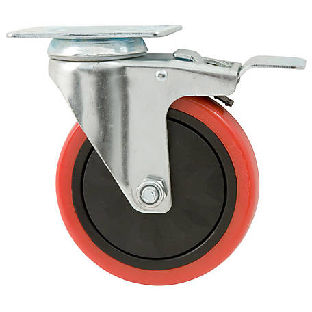 Waxman Titan Casters 5 in. Swivel with Brake Polyurethane Caster, 330 lb. Capacity, 4120955TD