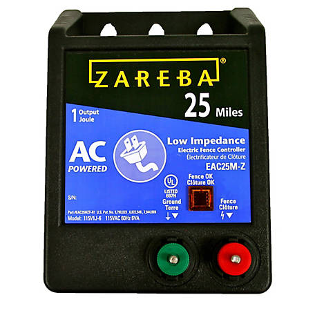 Zareba 25 Mile AC Low Impedance Fence Charger, EAC25M-Z