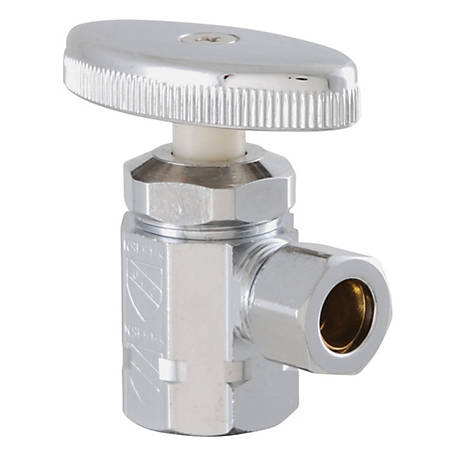 LDR Shut-Off Angle Valve, Chrome-Plated, 1/2 in. I.P. x 3/8 in.