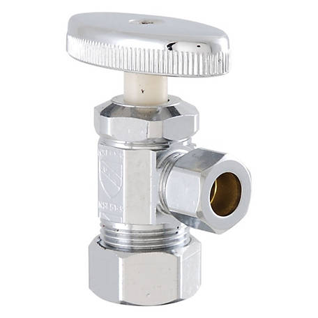 LDR Shut-Off Angle Valve, Chrome-Plated, 5/8 in. Comp x 3/8 in. Comp