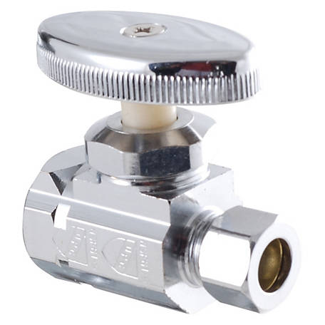 LDR Shut-Off Straight Valve, Chrome-Plated, 1/2 in. I.P. x 3/8 in. C