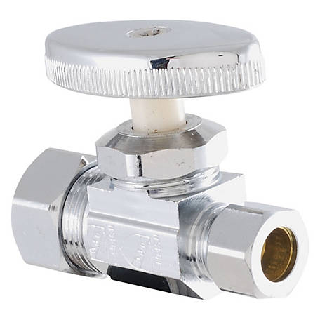 LDR Shut-Off Straight Valve, Chrome-Plated, Low Lead, 5/8 in. Comp x 3/8 in. Comp