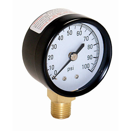 Water Source 100 PSI Pressure Gauge with 1/4 in. Lower Connection