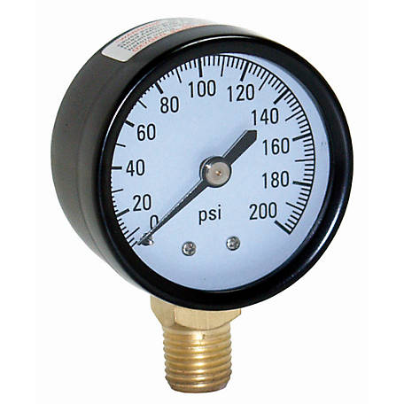 Water Source 200 PSI Pressure Gauge with 1/4 in. Lower Connection