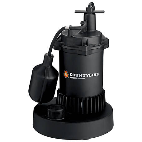 CountyLine Thermoplastic Submersible Sump Pump with Tethered Switch, 1/3 HP