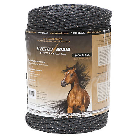 ElectroBraid 1,000 ft. Horse Fence Conductor Reel, Black, PBRC1000B2-EB