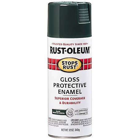 Rust-Oleum Rust-Oleum Stops Rust Protective Enamel Spray Paint, Gloss, Dark Hunter Green, 12 oz., 7733830
