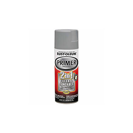 Rust-Oleum Automotive 2-in-1 Filler and Sandable Primer, Flat, Gray, 12 oz., 260510