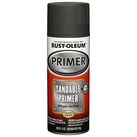 Rust-Oleum Automotive Sandable Spray Primer, Flat, Black, 12 oz., 249418