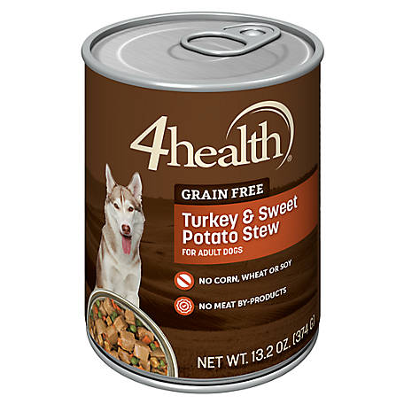 4health Grain-Free Turkey & Sweet Potato Stew in Gravy, 13.2 oz. Can.