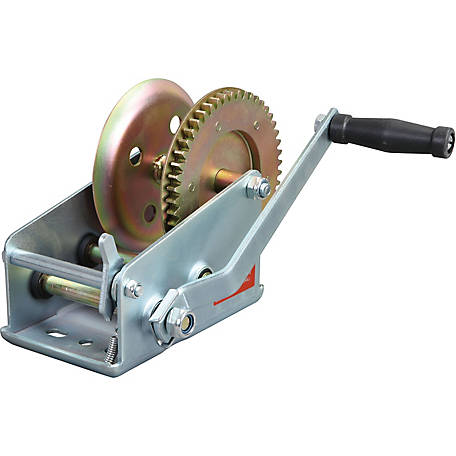 Torin Big Red TRT1251 2,500 lb. 2-Speed Manual Geared Hand Winch, Zinc Plated