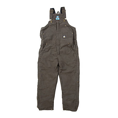Berne Boys' Sanded/Washed Duck Quilt-Lined Insulated Bib Overall
