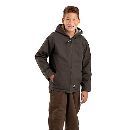 Berne Youth Sanded/Washed Duck Sherpa-Lined Hooded Jacket