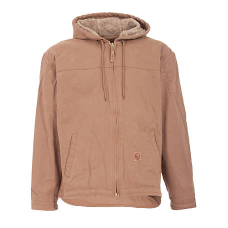 Berne Sanded/Washed Duck Sherpa-Lined Hooded Jacket