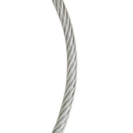 Koch Industries Wire Rope Cable, 7x7, Galvanized, Vinyl-Coated Clear, 1/8 in. to 3/16 in. dia., 50 ft. Length, 1 Each, A41134