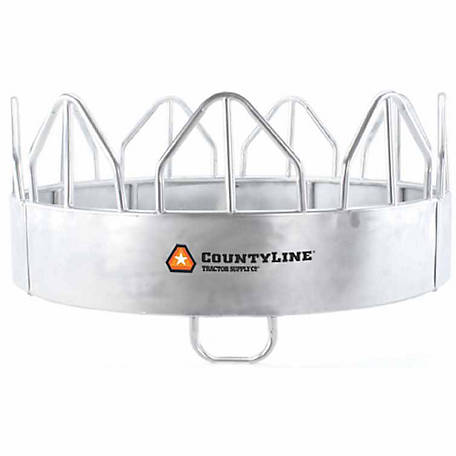 CountyLine Equine Pro Galvanized Feeder With Hay Saver (Galvanized Sheeted Bale Feeder For Horses)