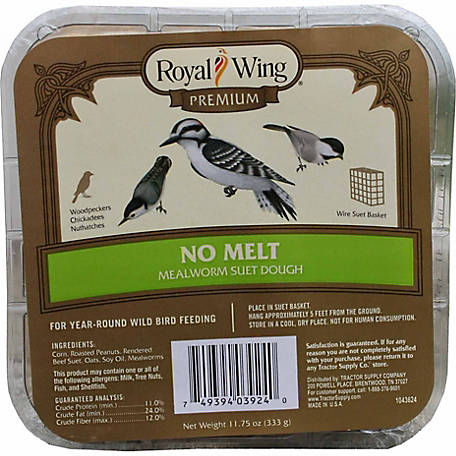 Royal Wing Premium No-Melt Mealworm Suet Dough, 11.75 oz.