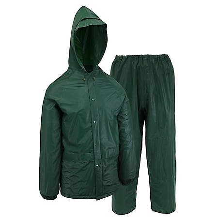 Blue Mountain Men's Green 20 Mil. PVC 2 piece Rainsuit