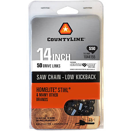 CountyLine 14 in. Semi Chisel Saw Chain; 3/8 in. LP Pitch; .050 in. Gauge; 50 DL