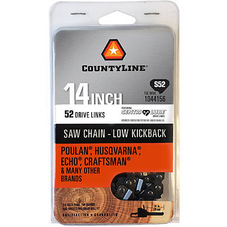 CountyLine 14 in. Semi Chisel Saw Chain; 3/8 in. LP Pitch; .050 in. Gauge; 52 DL