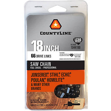 CountyLine 18 in. Full Chisel Non-Safety Saw Chain; 3/8 in. Pitch; .050 in. Gauge; 66 DL