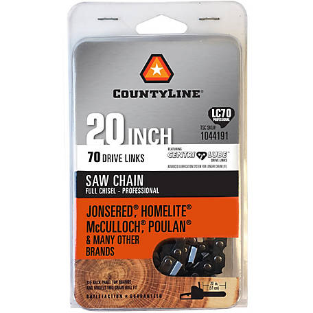 CountyLine 20 in. Full Chisel Non-Safety Saw Chain; 3/8 in. Pitch; .050 in. Gauge; 70 DL, CL85070NSCL