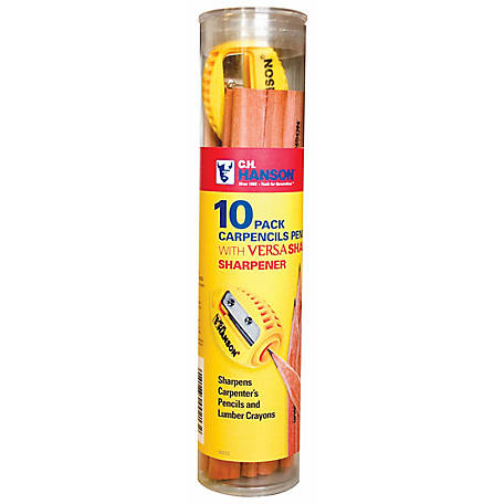 Carpenter's Pencils w/VersaSharp Sharpener, Pack of 10