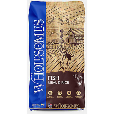 Wholesomes Fish Meal and Rice Dog Food, 40 lb. Bag, 16.5 x 7.5 x 27.5