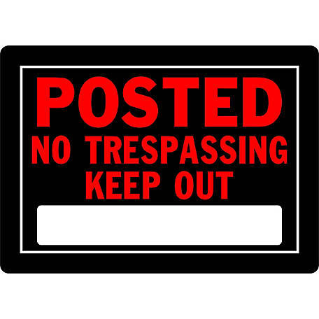 Hillman Posted No Trespassing Sign, 10 in. x 14 in.