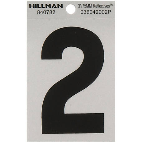 Hillman 3 in. Black and Silver Reflective Adhesive Number, 2