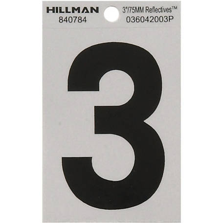 Hillman 3 in. Black and Silver Reflective Adhesive Number, 3