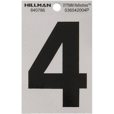 Hillman 3 in. Black and Silver Reflective Adhesive Number, 4
