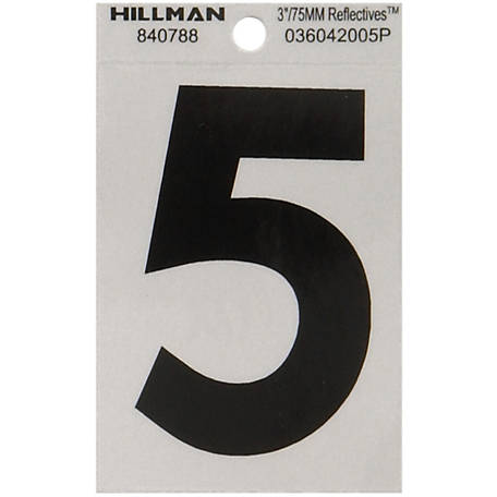 Hillman 3 in. Black and Silver Reflective Adhesive Number, 5