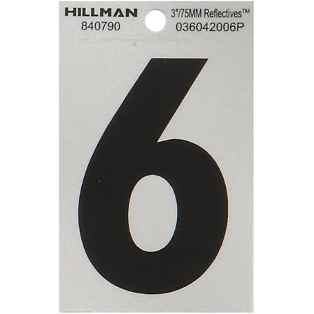 Hillman 3 in. Black and Silver Reflective Adhesive Number, 6