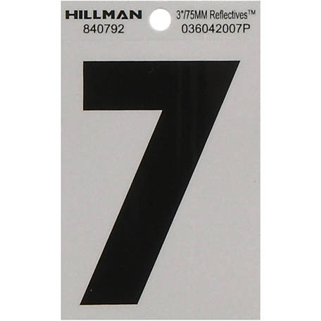 Hillman 3 in. Black and Silver Reflective Adhesive Number, 7