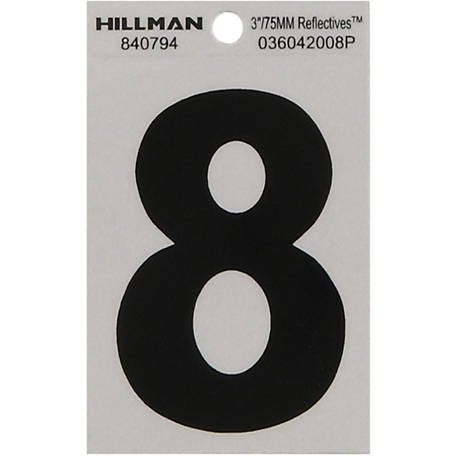Hillman 3 in. Black and Silver Reflective Adhesive Number, 8