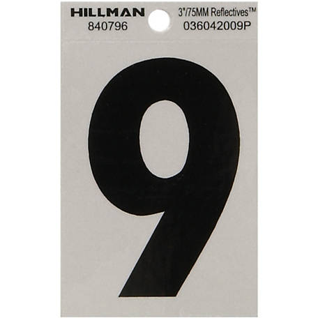 Hillman 3 in. Black and Silver Reflective Adhesive Number, 9