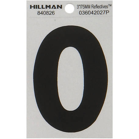 Hillman 3 in. Black and Silver Reflective Adhesive Letter, O