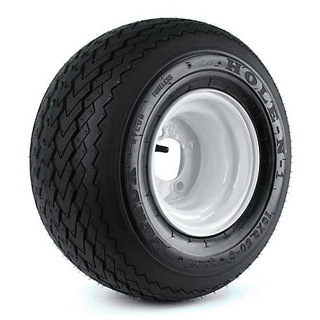 Kenda K389 Hole-N-1 18X850-8 Tire Mounted On 8x7, 4 Hole White Wheel (4/4), 858GK4W-4SWI