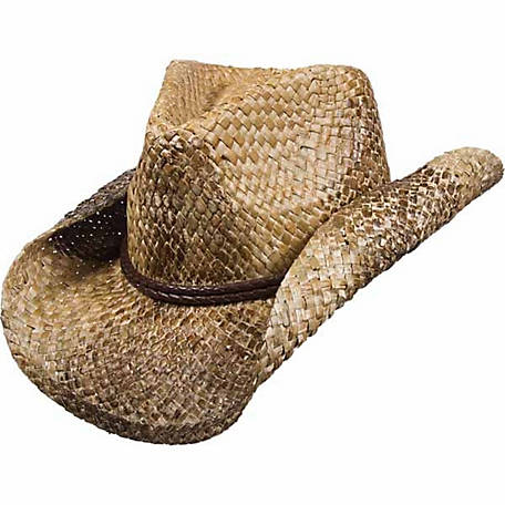 DPC Stained Seagrass Western Hat with Faux Leather Trim