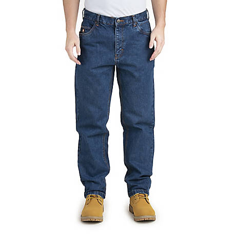 Berne Men's Flame Resistant Washed Denim 5-Pocket Relaxed Fit Jean