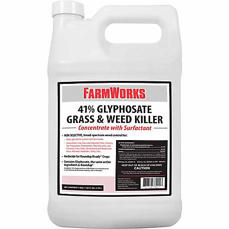 FarmWorks Grass & Weed Killer 41% Glyphosate Concentrate, 1 gal., 76201