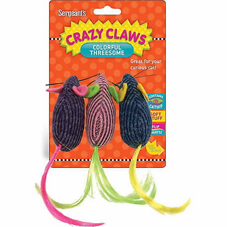 Crazy Claws Trio of Mice Soft Cat Toy, 49966