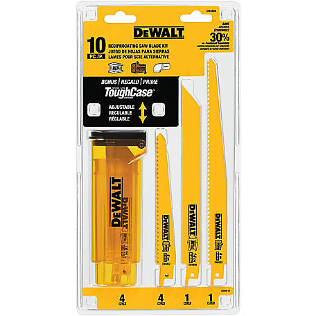 DeWALT 10-Piece Bi-Metal Reciprocating Saw Blade Set with Case
