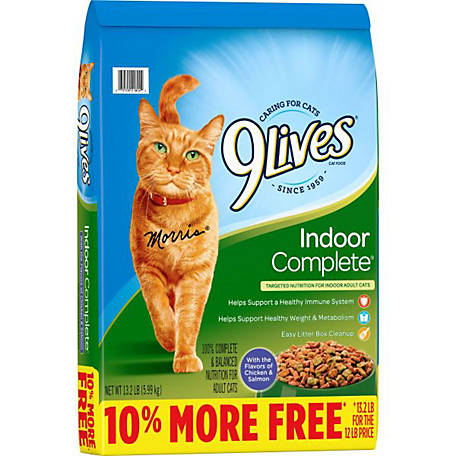 9Lives Indoor Complete Dry Cat Food, 12 lb. Bag