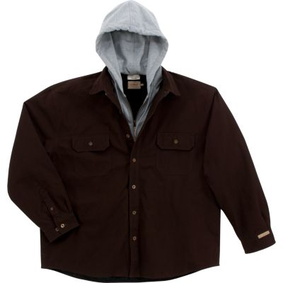 C.E. Schmidt® Men's Hooded Canvas Shirt Jacket, Dark Brown