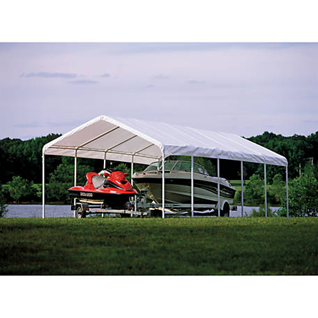 ShelterLogic Super Max 12 ft. x 30 ft. White Premium Canopy Replacement Cover, Fits 2 in. Frame