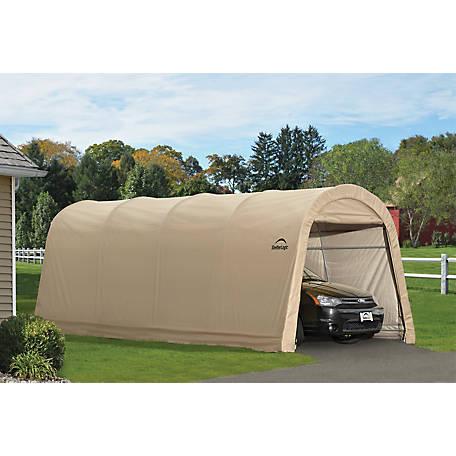 Shelterlogic Autoshelter 10 Ft X 20 Ft X 8 Ft Roundtop Instant Garage Sandstone At Tractor Supply Co