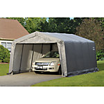 ShelterLogic Garage-in-a-Box Compact 12 ft. x 16 ft. 8 ft. Peak Style Garage, Gray