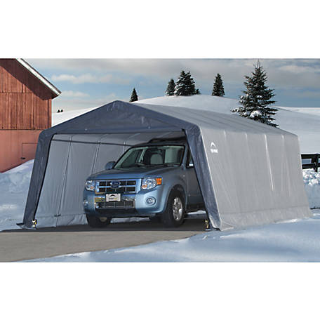ShelterLogic Garage-in-a-Box 12 ft. x 20 ft. x 8 ft. Peak Style Instant Garage, Gray
